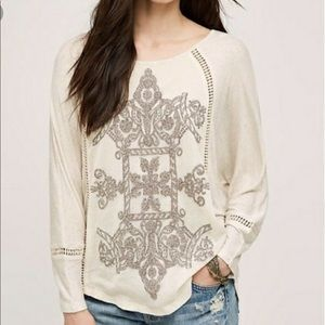 Anthropology Meadow Rue Embroidered Linen dolman